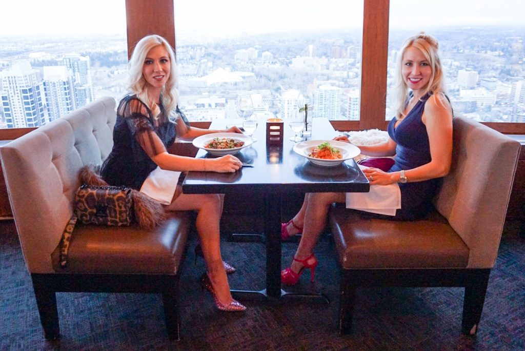 Katrina Olson and Karalyn Reardon in the Calgary Tower for Dinner