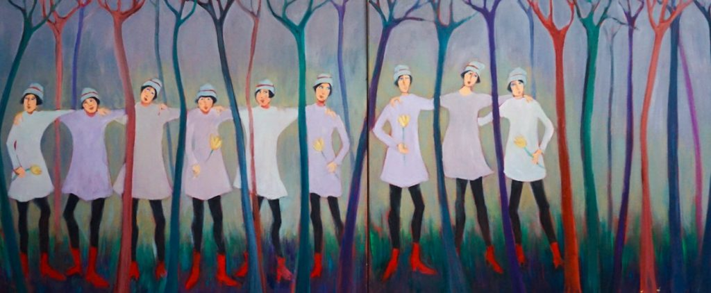 Audrey Mabee painting women in the trees