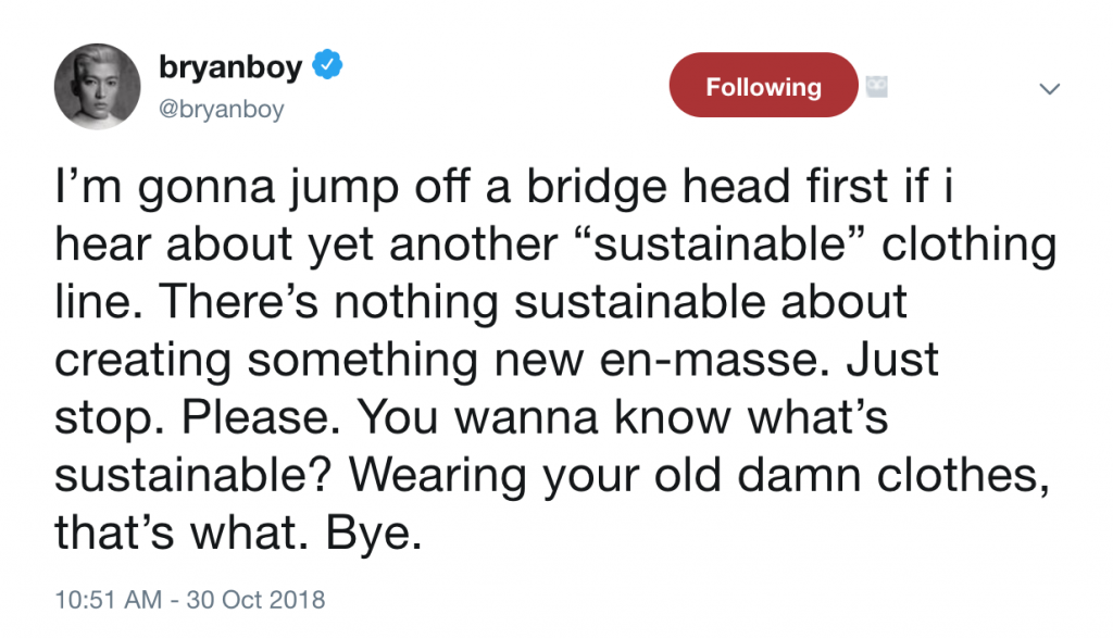 Bryan Boy Sustainability Tweet