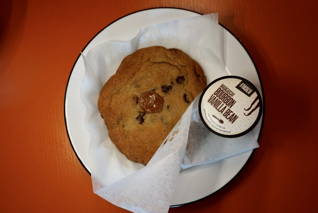 Half pound chocolate chip cookie with Fiasco Gelato at Chix Eggshop