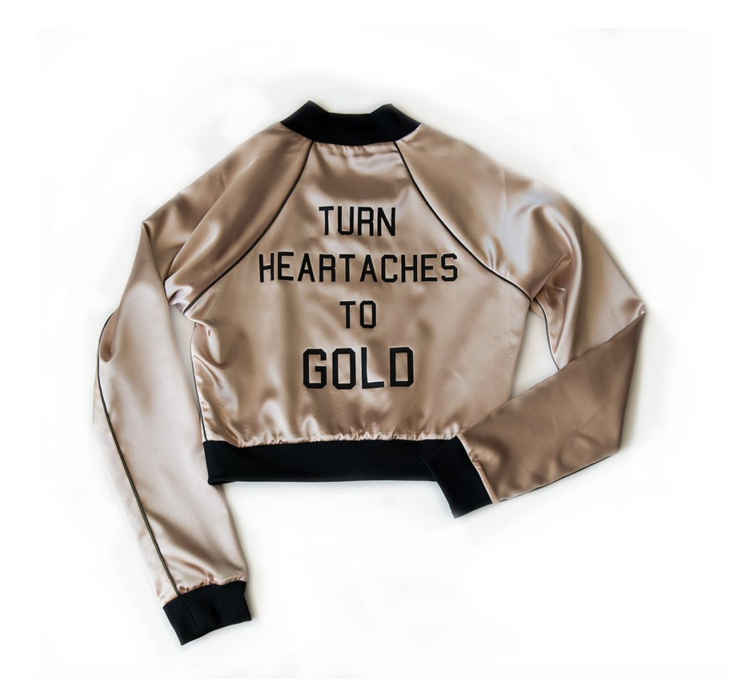 Parts + Labor HEARTACHES TO GOLD - CROPPED BOMBER