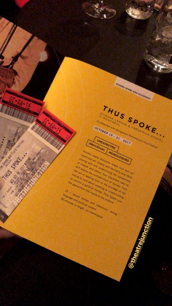 Thus Spoke Theatre Junction Grand tickets