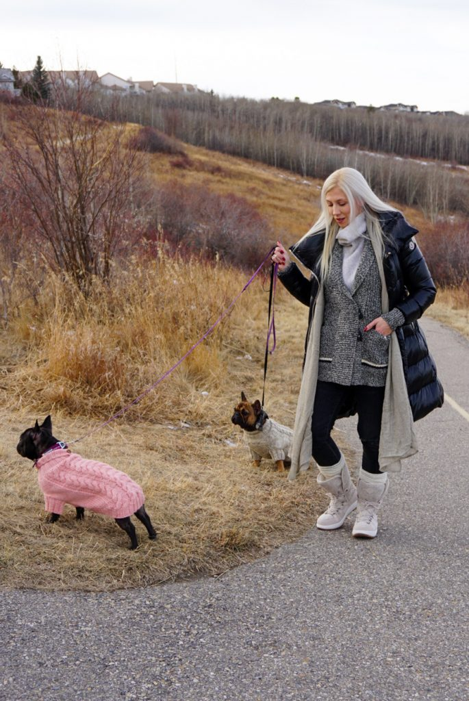 SPERRY Women's Powder Arctic Grip Winter Boots on Katrina Olson walking frenchie dogs