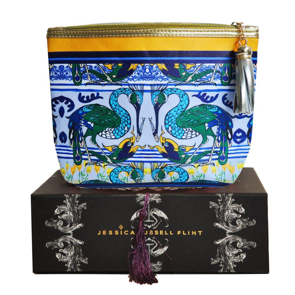 heron and carp make up bag on box