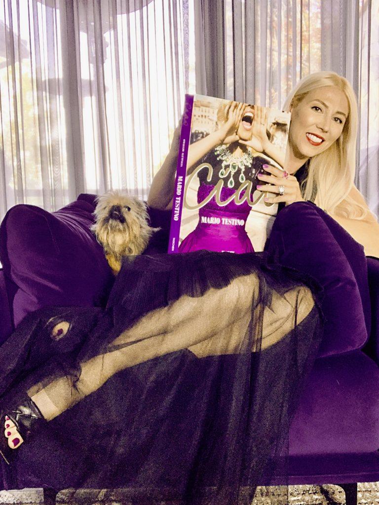 Katrina Olson Ciao! Taschen Mario Testino purple chair